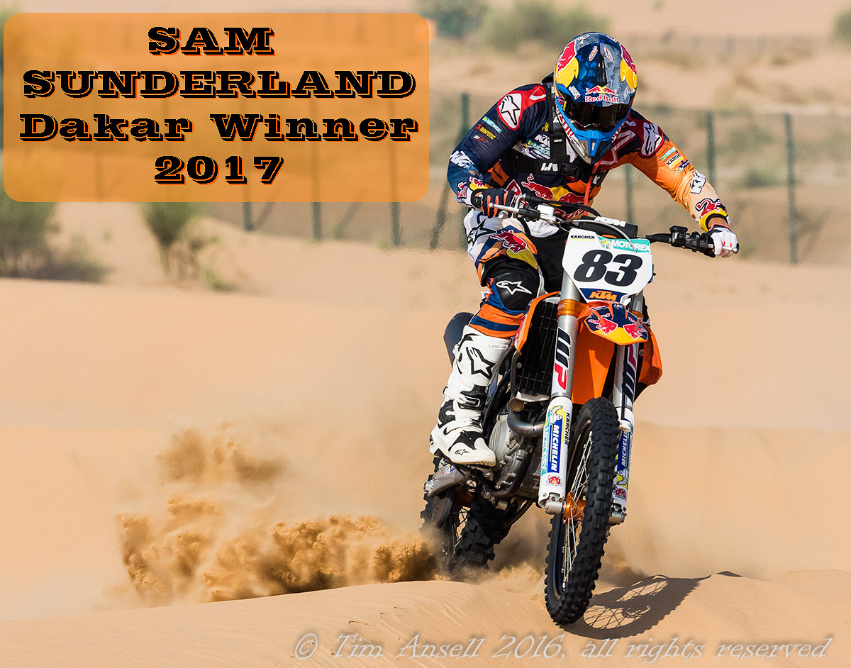 Sam Sunderland competing in the Emirates Desert Championship