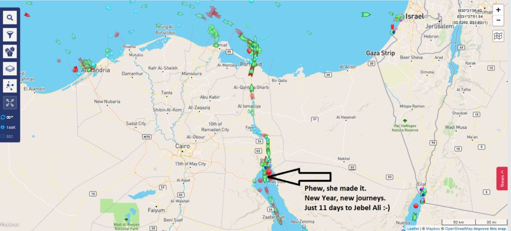 The Castor Leader went through the Suez Canal on New Year's Day 2017, en route to Dubai.