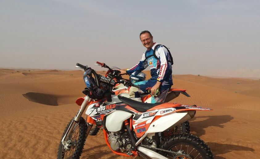 Tim in the desert on a KTM 500 EXC.
